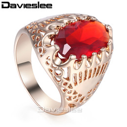 Wholesale 585 Ring - Davieslee Wedding Band Ring For Women Men Red Stone 585 Rose Gold Color 19mm Fashion Jewelry LGR39