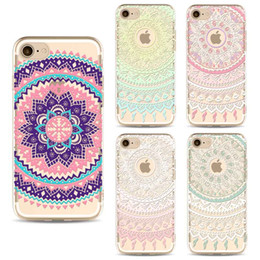 Wholesale Iphone Floral Cases - For iPhone 7 Plus Case Clear Soft TPU Cover Totems Floral Mandara Pattern Cases Bohemia For Cellphone 6 6s Shell