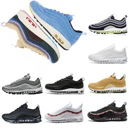 Wholesale round sizes - 2018 97 shoes Triple white black pink japan Running shoes Metallic Gold Silver Bullet Mens trainer Women sports Shoes sneakers size 36-45