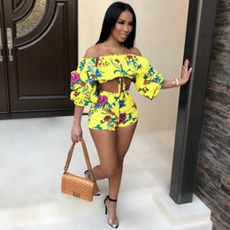 d95478abaf1 Elegant Sexy Off Shoulder Women 2 Piece Set Crop Top and Shorts Floral Print  Summer Romper Casual Beach Two Piece White Jumpsuit