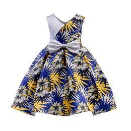 vestidos clássicos do partido do comensal Desconto Vestido da menina elegante sem mangas clássico padrão de folha bowtie vestido de princesa para 3-10years meninas crianças crianças partido jantar desempenho vestido