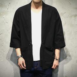chaquetas de kimono más tamaño Rebajas Japón estilo Kimono Chaqueta Hombres 100% CottonLinen suelta chaquetas para hombre más el tamaño 3/4 manga puntada abierta abrigo casual para hombre rompevientos