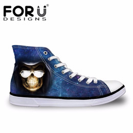 Wholesale Ladies Tops Design Lace - FORUDESIGNS Fashion Skull Design Women Casual High Top Shoes Brand Designer Canvas Shoes Flats for Ladies Vulcanize 2017