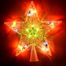 Wholesale Christmas Tree Star Top - Wholesale-Multi-Colored 16cm In Diameter Trumpet Glowing Christmas Tree Top Star Christmas Tree Decoration