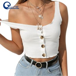 7b1bc33587f Sexy Women Crop Tops Casual Spaghetti Strap Cropped Button Tank Tops Vest  cropped feminino Women clothes Tight Sexy Tank Top