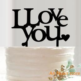 decorazioni di cupcakes di nozze Sconti 1Pcs acrilico nero 'I Love you' Cupcake Cake Topper Cake Decorazioni per la festa di compleanno di anniversario di San Valentino