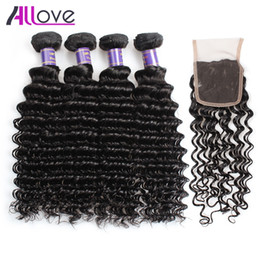 Cheap 8A Deep Wave 4PCS with Closure Malaysian Virgin Hair Deep Curly Brazilian Hair Indian Deep Wave Hair Extension With Lace Closure Coupons