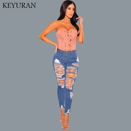 Wholesale high waist distressed jeans - New Fashion High waist Womens skinny Jeans Ripped Distressed Denim Pants Hole Boyfriend Jeans Long Pencil Trousers For Women