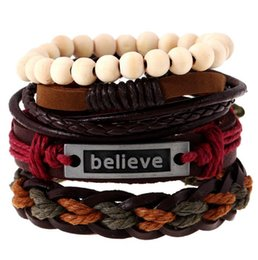 Wholesale Mens Bead Bracelets Wood - Mens Leather Bracelet Wrap multilayered braid Vintage Cuff woven Bracelets Wood Beads Ethnic Tribal Believe Charm for men
