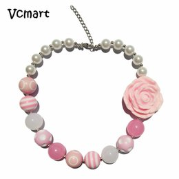 Wholesale Girls Pearls Chunky Necklace - Vcmart 2pcs Pink Resin Folwer Chunky Beads Necklace Simulated Pearl Chunky Bubblegum Necklace for Girls Jewelry