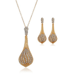 new golden earrings Coupons - New Golden Jewelry Fashion Personality Ladies Rhinestone Necklace Earring Set