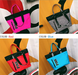 Wholesale Fashion Hangbags - Fashion Pink Letter Handbag Love Pink Printed Shoulder Bags Portable Shipping Bag Beach Handbags Ladies Grils Travel Duffle Bags Purses