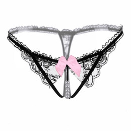 Wholesale Rose Intimate Underwear - 2018Sexy Women Lace Panties Underwear Women Thong Bow Lace Crotchless Intimates Sexy Panties Briefs With Pearl Beads