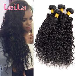 Wholesale water wave hair bundles - Brazilian Virgin Hair Water Wave 4 Bundles Leila Double Wefts Wet And Wavy Human Hair Extensions Weaves 8-28inch Brazilian Water Wave