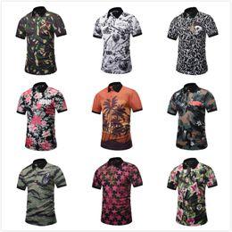 polo divertido Rebajas 2018 New Summer Short Mens Shirt Designer 3D Printing Mens Polo Shirts Hombre divertido estilo de playa de camuflaje Skull Top Tee elegante camiseta
