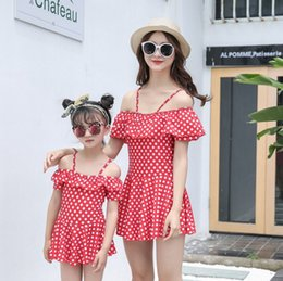 Wholesale mother baby girl clothes - Family Matching Outfits Mother And Daughter Summer 2pcs set Swimsuit Kids Parent Dot Swimwear Baby Girls Clothes
