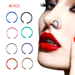 Wholesale Fake Gold Jewelry - 40 PCS Set Sexy Fake Nose Ring Circle Clip On Nose Hoop Body Jewelry Non Piercing Unisex Non Piercing