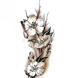 tatuajes de henna en la muñeca Rebajas Mujeres atractivas del tatuaje temporal de la flor del ciruelo Pegatinas de tatuaje a prueba de agua 9 * 18.5 cm Body Art Tattoo Flower envío gratis
