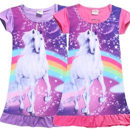 Wholesale Dresses Daily - Kids Girls Short Sleeves Cute Unicorn Animal Horse Rainbow Printed Nightdress Sleepwear Girls Clothes Daily Dress pajamas
