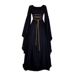 Wholesale Blue Sexy Night Gowns - Women Medieval Vintage Victorian Renaissance Gothic Costume Ball Gown Long Sleeve Floor-Length Dress D1