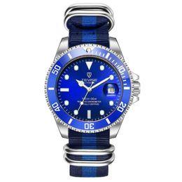 Имитация ремней онлайн-Топ Марка нейлоновый ремешок механические часы Автоматическая дата мода наручные часы унисекс имитация керамическая рамка дайвинг роскошные спортивные часы