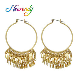 Wholesale Circle Shaped Earrings - whole saleNewindy Punk Rock Style Statement Earrings Jewelry Gold-Color With Circle Beads Geometric Shape Large Hoop Earrings For Women