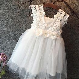 Canada Vieeoease Filles Robe Fleur Vêtements Pour Enfants 2018 D'été Mode Sans Manches Gilet En Dentelle Tutu Princesse Robe de soirée KU-137 Offre