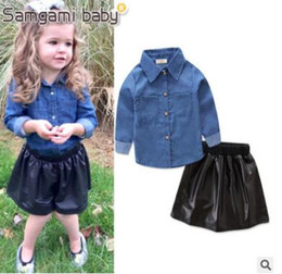 Wholesale Pu T Shirts - Girls Outfits 2018 Fashion Children Girls Clothes Set Long Sleeve Denim T-shirt Tops+PU Leather Black Skirt 2PCS Outfits Clothing for 1-6Y