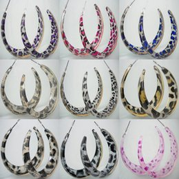Wholesale Rose Gold Earrings Hoops - Acrylic Hoop Earrings Mix 9 Styles Leopard Love Heart Wholesale Lots Women Elegant Eardrop ( Purple Rose Red Blue Gray Gold Pink )(JE010)