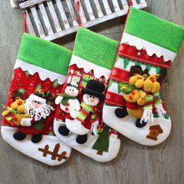 decorazioni del camino Sconti Calze di Natale Regali di stoffa Babbo Natale Elk Calze Regalo di Natale Borsa per bambini Camino Albero Decorazione natalizia