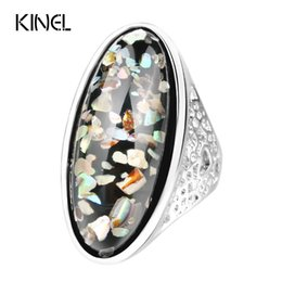 Wholesale Coral Wedding Ring - Luxury 7 Color Shells Ring For Women Dazzle Artificial Coral Accessories Silver Plated Vintage Oval Big Rings