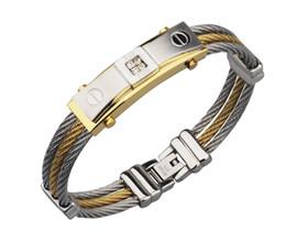 Canada Or Couleur Fil Câble Hommes Charme Bracelets Bracelets Haute Qualité Titane En Acier Nouveau 2017 Hommes Bijoux De Mode cheap titanium cables Offre