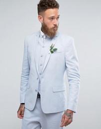 Custom Designs Blue Skinny Uomo Blazer Tuta da uomo per smoking da sposa Groomsmen Casual Sposo Prom Party 3 pezzi DEMO6529 cheap skinny blazers men da uomini di pelle scamosciata fornitori