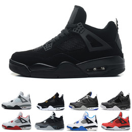 Wholesale Thunder 4s - Best 4 men Basketball shoes bred Black cat Fire Red White Cement Pure Money Motosports Royalty CAVS Thunder 4s Sneaker mens sports sheos