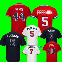 Wholesale cheap jerseys free shipping - Atlanta 44 Hank Aaron Jersey Men's 10 Chipper Jones 5 Freddie Freeman Baseball Jerseys Cheap wholesale Free Shipping
