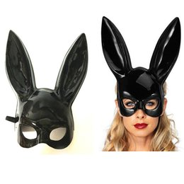 Wholesale White Easter Bunny Costume - White And Black Rabbit Women Mask Masquerade Bunny Rabbit Mask Easter Party Decoration Costume Cosplay Accessory Children Gift