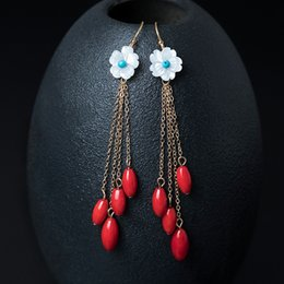 Wholesale Natural Red Coral Jewelry - 14k Gold Filled Charm designer earrings jewelry fashion Female natural shell flower ear line long red bean tassel coral earring china direct