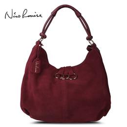 bolsos originales hobo Rebajas Nico Louise Mujeres Real Split cuero Hobo Bag, Original diseño Suede Leisure grandes bolsas Lady Casual Shopping Bag Sac