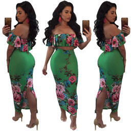 Wholesale Floral Printed Bodycon Dress - Hot Sexy Two Piece Women Bodycon Dress fashion Slash Neck Backless Flounced crop tops + Package hip skirt Maxi Dresses Clubwear
