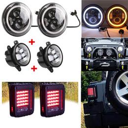 "2019 luces de advertencia verde ámbar Halo 7 ""pulgadas LED Faro DRL, JK Led Conjunto de luces traseras, Wrangler 4 pulgadas Combo de luces antiniebla para Jeep 2007-2015 2010 2011"