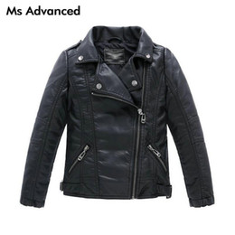 Wholesale Children S Coat Jacket - Teenager Baby Boys Leather Jacket Boys Casual Black Solid Children Outerwear Kids Girls Coats Spring Leather Jackets 2017 New