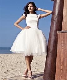 Wholesale Embroidery Dress Shop - Plus Size Summer Ball Gown Bateau Short Vintage Lace Wedding Dresses For Beach Wedding 2016 Online Shop