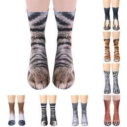 Мультфильм для взрослых кошек онлайн-3D печать животных ноги копыта носки лапы ноги экипажа носки взрослых цифровой моделирования носки унисекс Тигр Собака кошка носок
