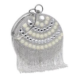Bolso con cuentas de moda online-Nueva Llegada Borla Diamantes Bolsos de Noche Con Cuentas de Cadena de Hombro Bolsos Rhinestones Moda Embrague Embrague Bolso
