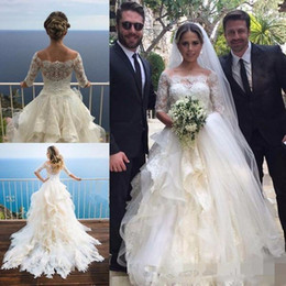 Wholesale Simple Boat Neck Organza Gown - Elegant Ivory Half Sleeve A Line Wedding Dresses Bridal Gowns Unique Tulle Tiered Boat Neck Princess Wedding Dress For Bridal Gowns 2018