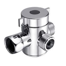 Wholesale valve hand - 3 Way Adjustable Plastic Chrome Multi-Functional Hand Shower Diverter Valve Adapter with Bracket Holder