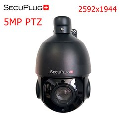 Wholesale indoor ptz dome ip camera - SecuPlug+ 5MP PTZ Camera IP Camera H.265 Outdoor Super HD 2592x1944 Resolution Pan Tilt 30X Speed Dome Camera Black Support Onvif 2.4