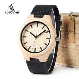 Wholesale Maple Watch - BOBO BIRD WF21 Maple Wood Watches Mens Design Brand Luxury Real Leather with Red Thread Quartz Watch for Men in Gift Box