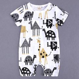 Последний ребенок ползать костюм животных печати тонкий раздел 0-24 месяцев onesies новорожденных детская одежда от Поставщики новорожденные животные