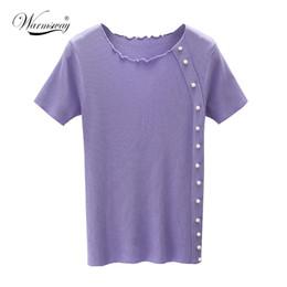 6a04cb89d0 pearl crop tops Australia - WARMSWAY Pearl Beaded Leuce Edge Crop Tee  Casual Women T shirt